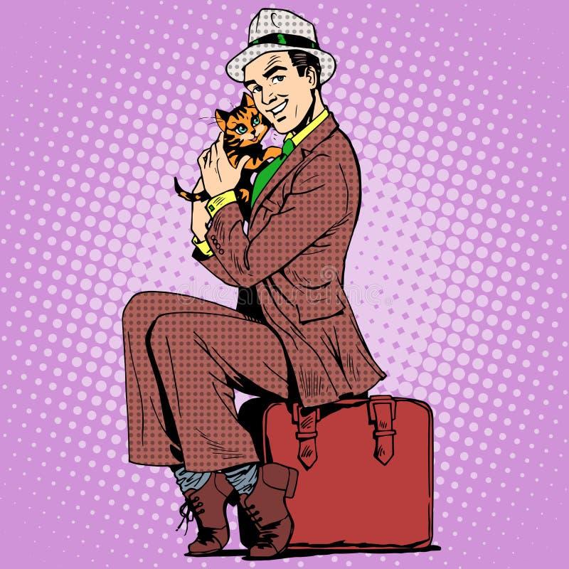 Котенок человека и чемодан иллюстрация вектора