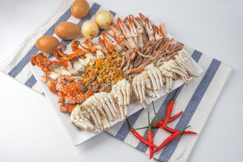 , который текут крабы, тайские морепродукты, взгляд сверху стоковые фото