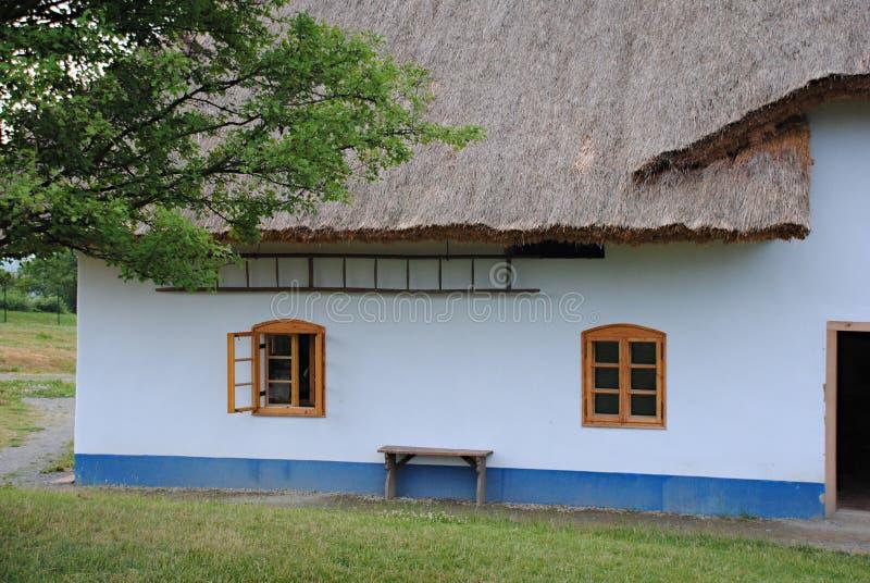 Коттедж страны с крышей соломы стоковые фотографии rf