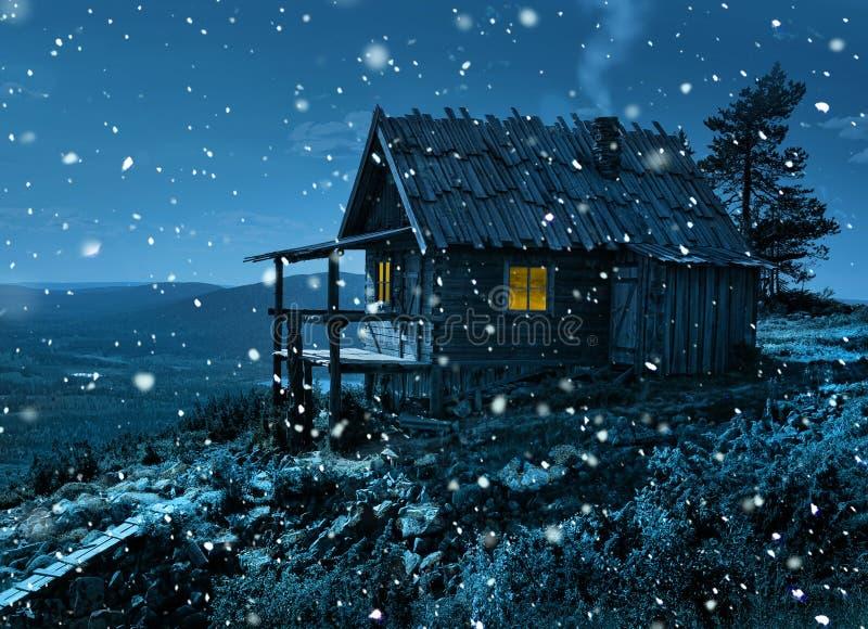 Коттедж ` s Санты секретный в первых снежностях стоковое фото