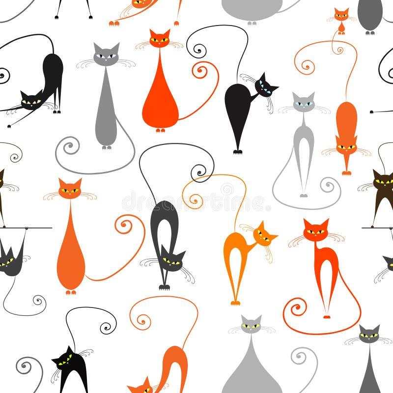 Коты, безшовная картина для вашего дизайна иллюстрация штока
