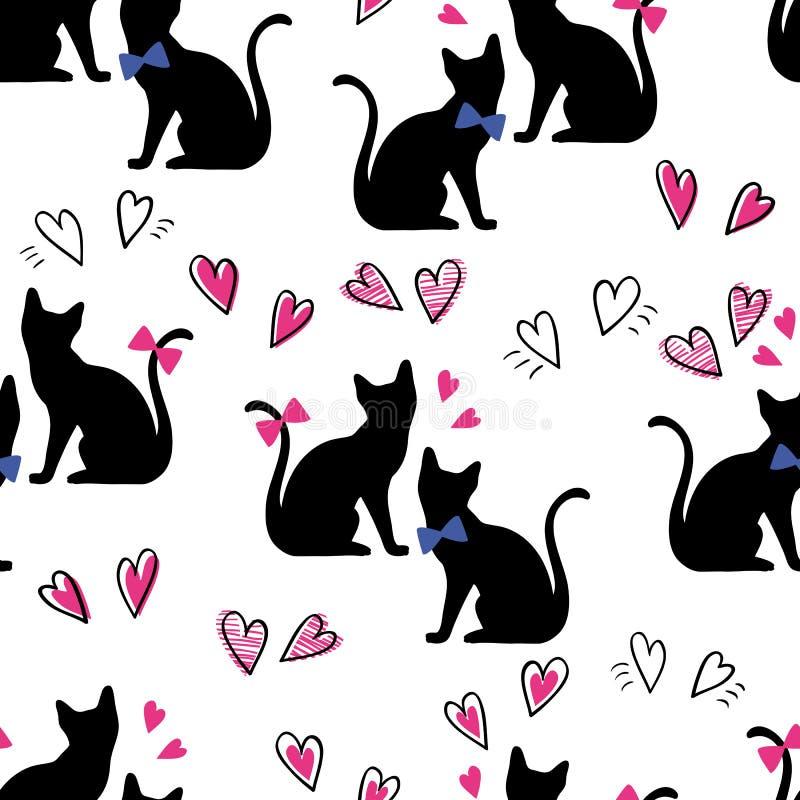 Коты безшовной картины черные с сердцами на белой предпосылке иллюстрация штока