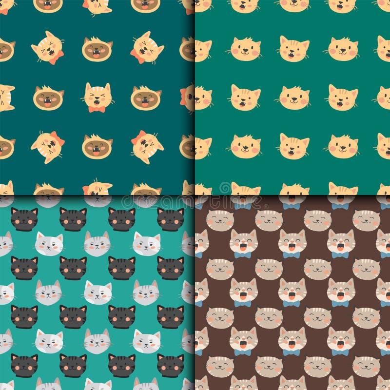 Коты возглавляют характеров картины иллюстрации вектора любимчика милых животных смешных безшовных кошачий отечественный ультрамо иллюстрация штока