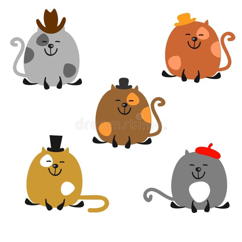 Коты в шляпах иллюстрация штока
