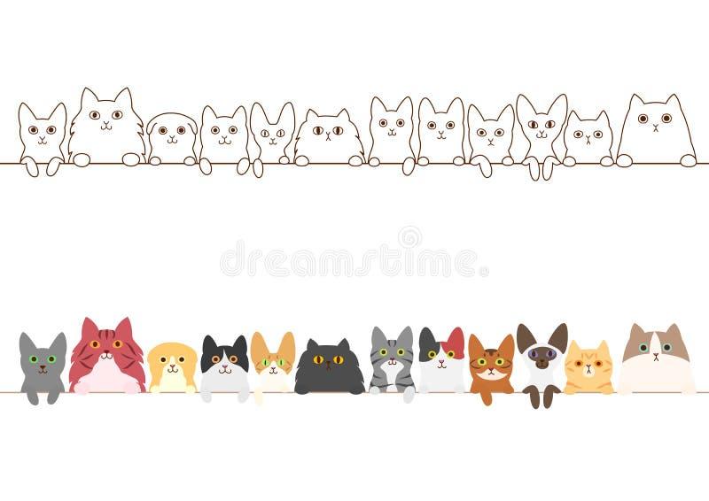 Коты граничат комплект иллюстрация вектора