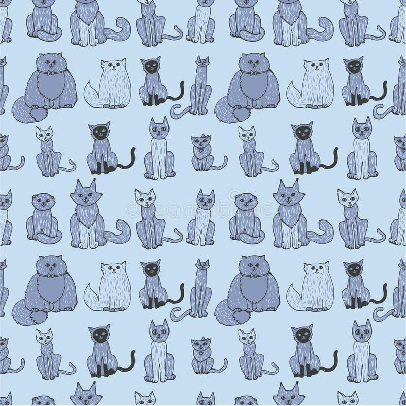коты делают по образцу безшовное иллюстрация вектора