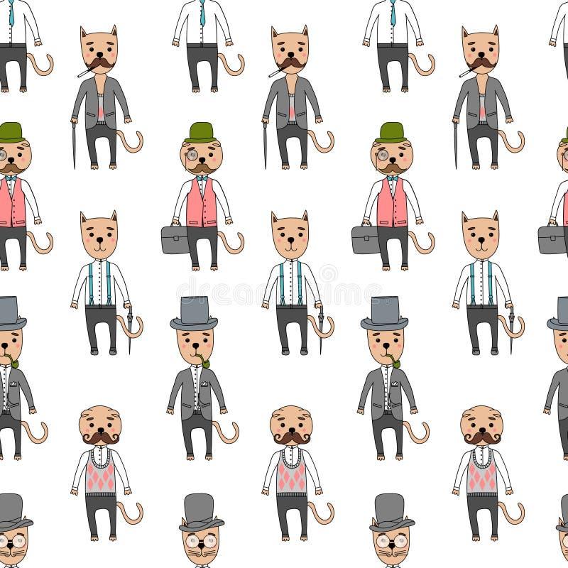 Коты джентльмена в аксессуарах битника иллюстрация вектора