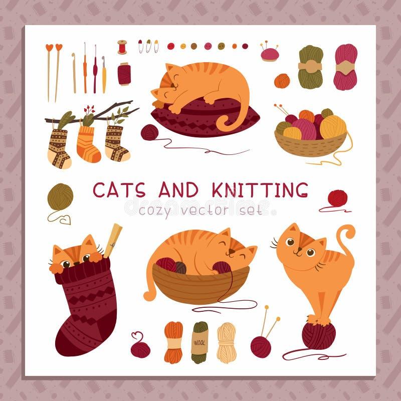 Коты и вязать плоский набор иллюстрации вектора бесплатная иллюстрация
