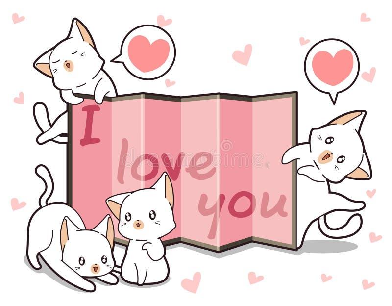 Коты и занавес Kawaii со словом иллюстрация штока