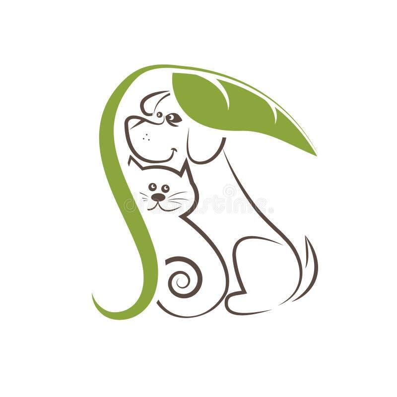 коты и собаки под лист иллюстрация вектора