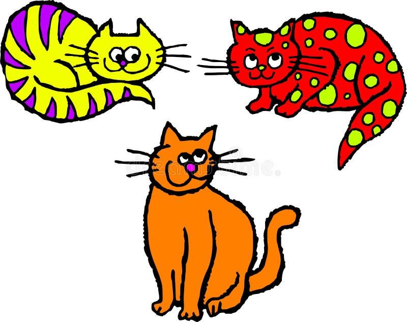 коты неухоженные иллюстрация вектора