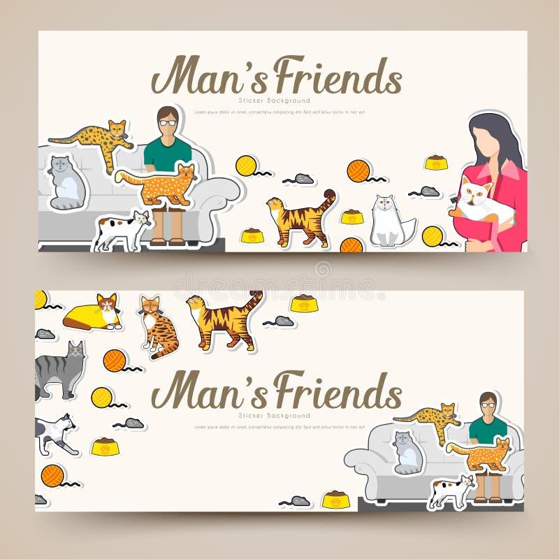 Коты породы утончают линию знамена карт брошюры Животный традиционный шаблон flyear, журналы, плакаты, обложка книги иллюстрация штока