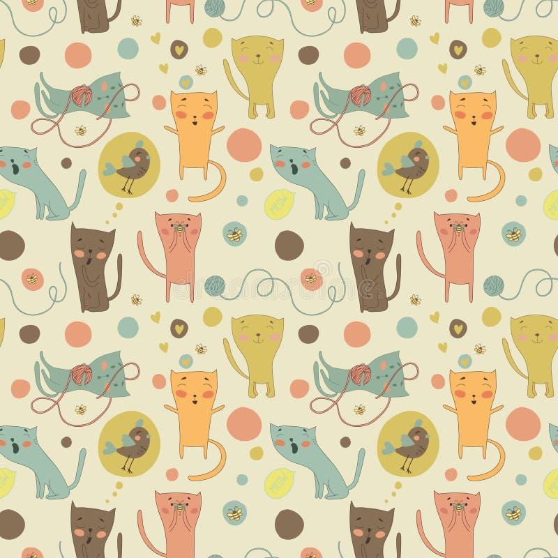 Коты, птица и игрушки шаржа на яркой предпосылке иллюстрация вектора