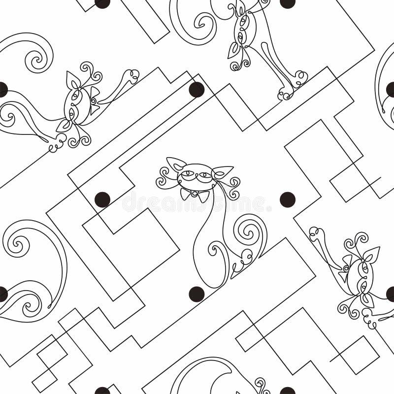 коты смешные Непрерывная линия чертеж картина безшовная печать Белая предпосылка точек польки лабиринт вектор бесплатная иллюстрация