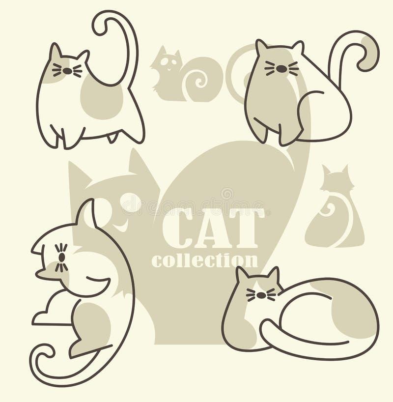 коты смешные иллюстрация вектора