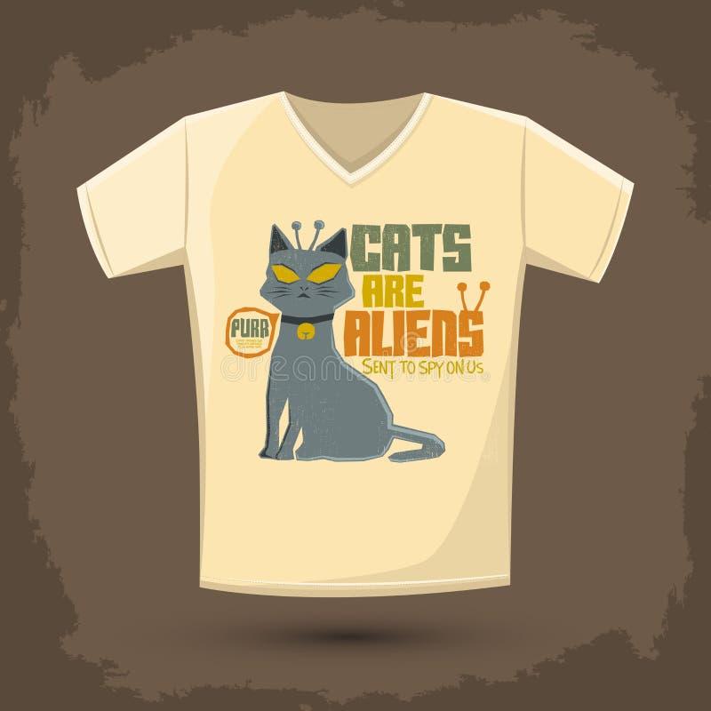 Коты чужеземцы - Vector дизайн печати футболки иллюстрация штока