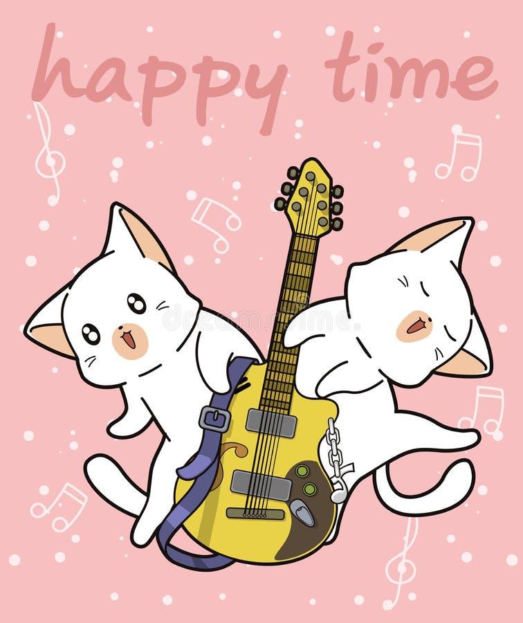Коты Kawaii и гитара иллюстрация штока