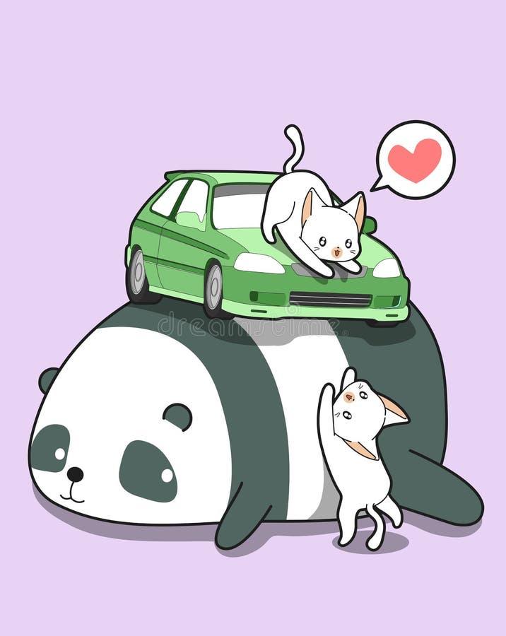Коты Kawaii с автомобилем на гигантской панде иллюстрация штока