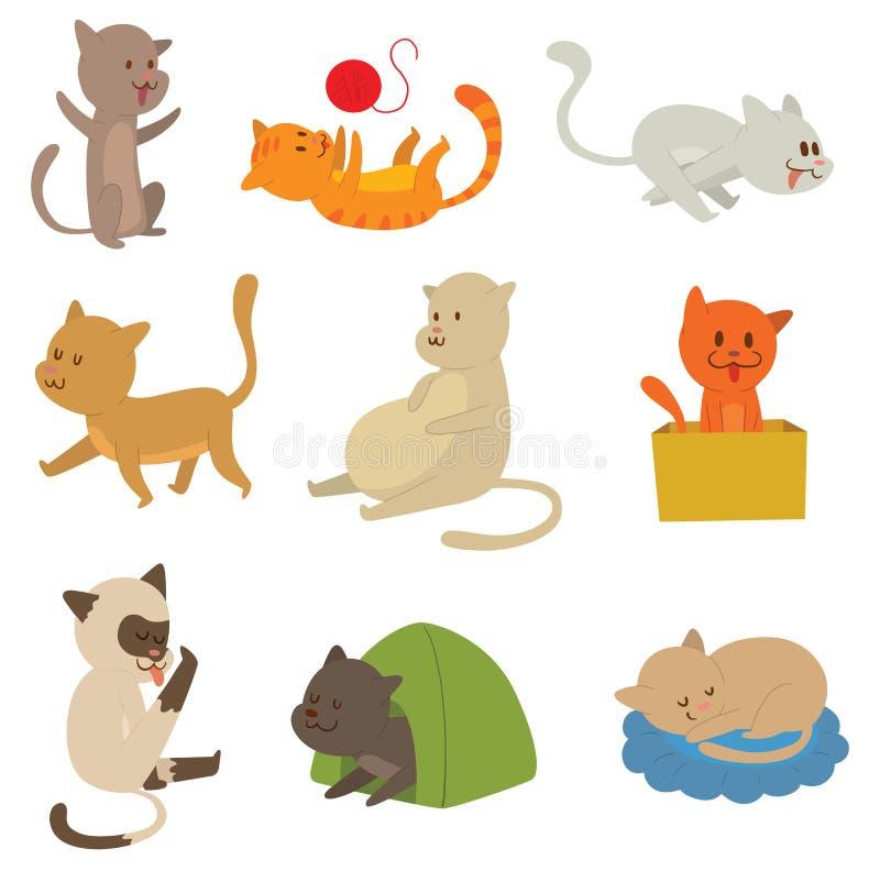 Коты vector комплект иллюстрация штока