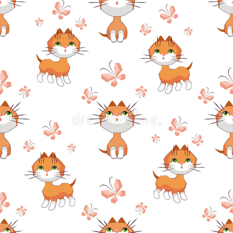 Котята и бабочки иллюстрация штока