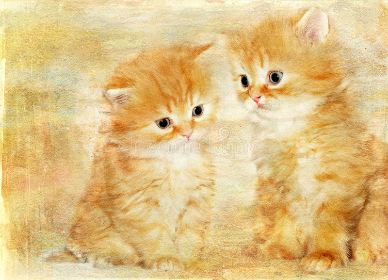 котята ретро стоковое изображение rf