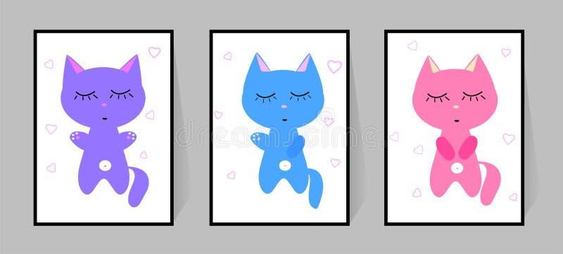 3 котят с глазами закрыли Установите плакатов цвета Милая спальня ребенка оформления характера вектора мультфильма Изолированная  иллюстрация штока