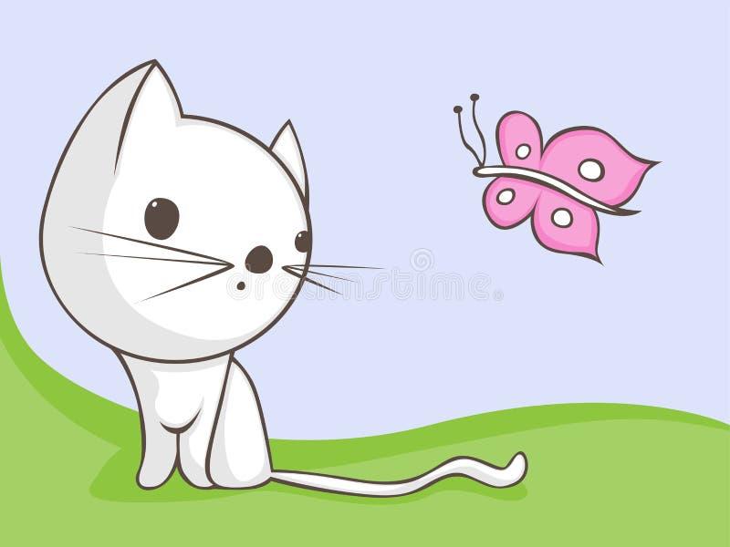 кот бабочки иллюстрация вектора