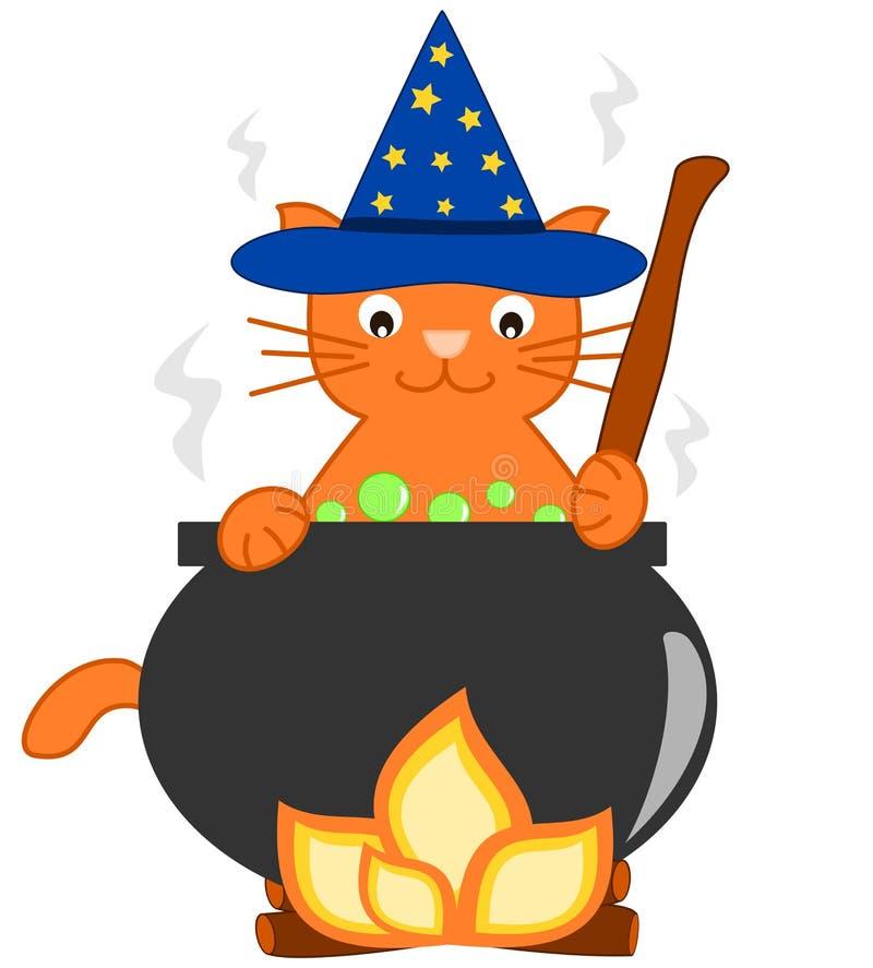 Кот волшебного шаржа волшебника оранжевый и его иллюстрация котла для детей иллюстрация штока