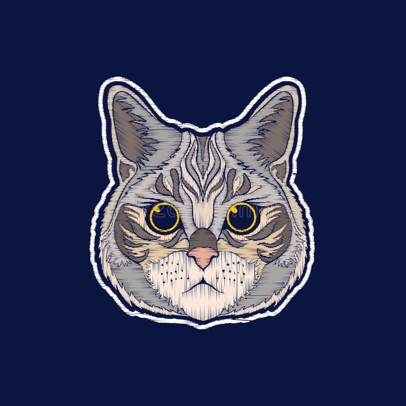 Кот Вышивка значки заплаты fachion иллюстрация вектора