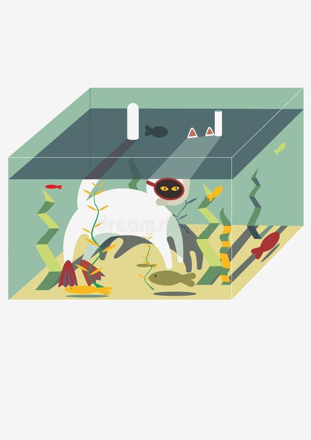 Кот в аквариуме пробует уловить рыб в подводной маске бесплатная иллюстрация