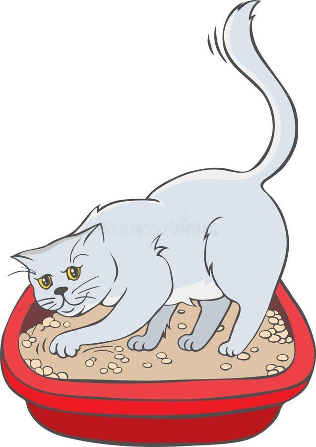 Кот в подносе иллюстрация вектора
