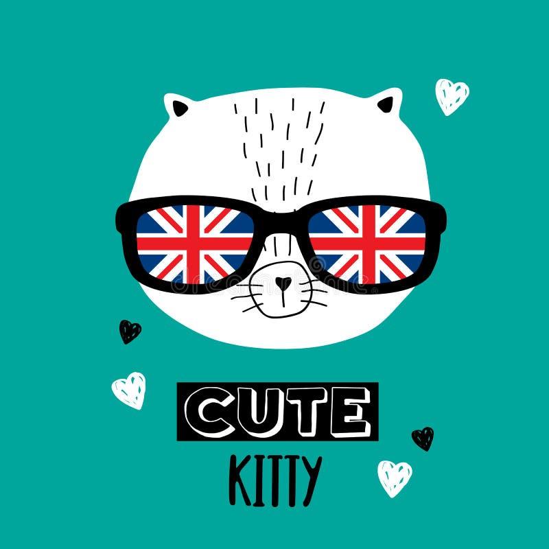 Кот в стеклах с флагом британцев иллюстрация вектора