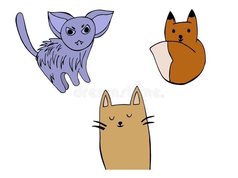 Кот, гибрид и стикеры Fox бесплатная иллюстрация