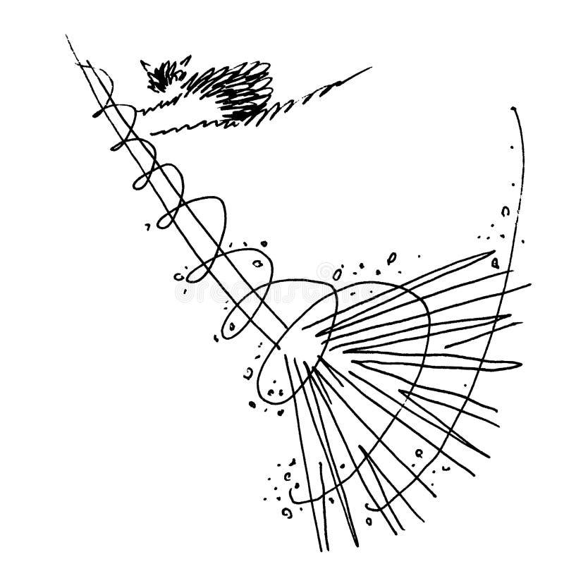 Кот делает чистку Веник, пыль, сор, чистка дома иллюстрация вектора