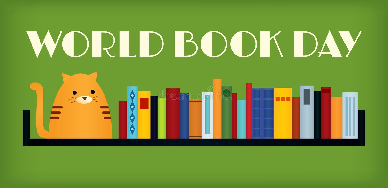 Кот дня книги мира иллюстрация вектора