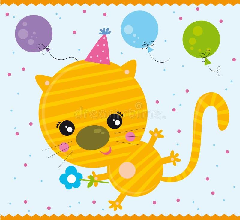 кот дня рождения иллюстрация вектора