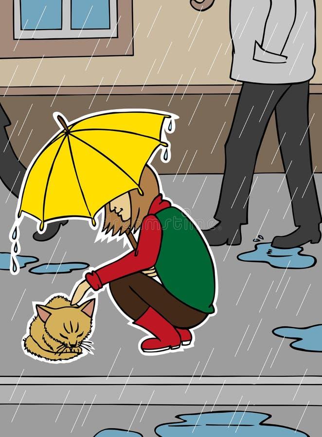 Кот девушки и бездомные как в дожде иллюстрация штока