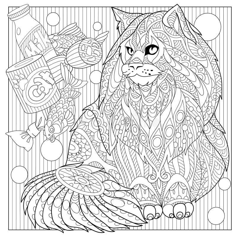 Кот енота Zentangle стилизованный Мейна бесплатная иллюстрация