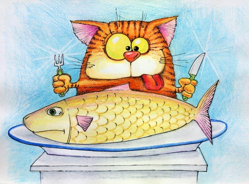 кот ест рыб идя к иллюстрация вектора