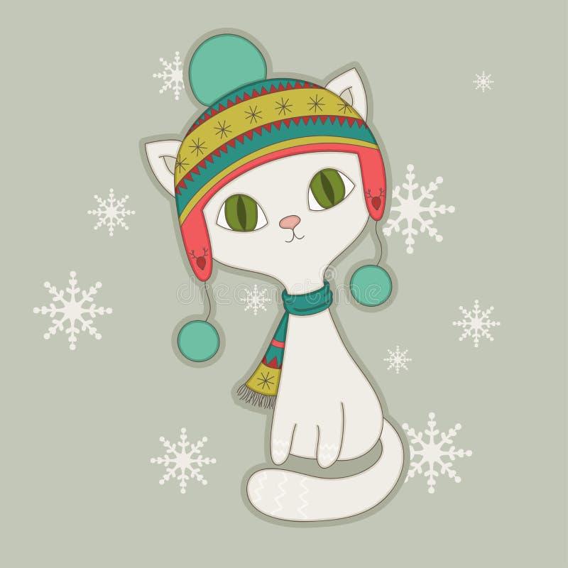 Кот зимы иллюстрация вектора