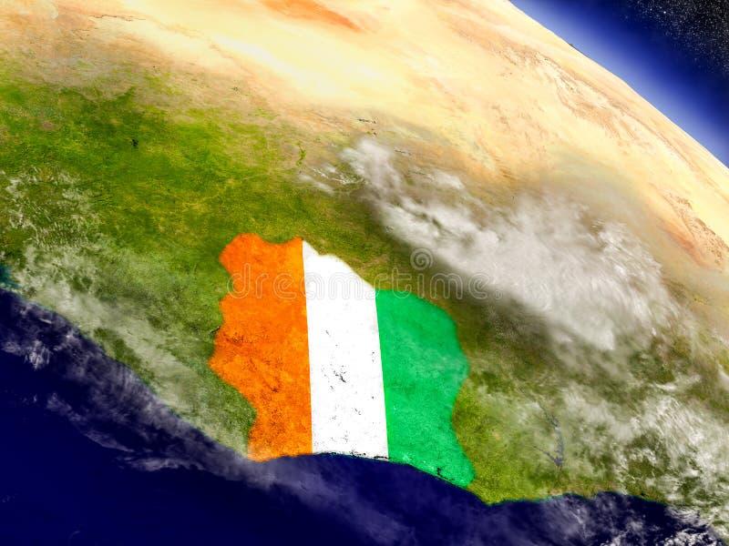 Download Кот-д'Ивуар с врезанным флагом на земле Иллюстрация штока - иллюстрации насчитывающей физическо, погода: 81802432