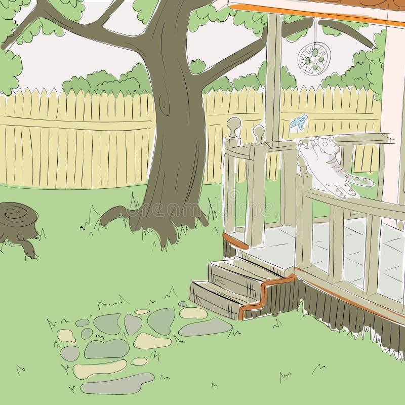 Кот играет во дворе бесплатная иллюстрация