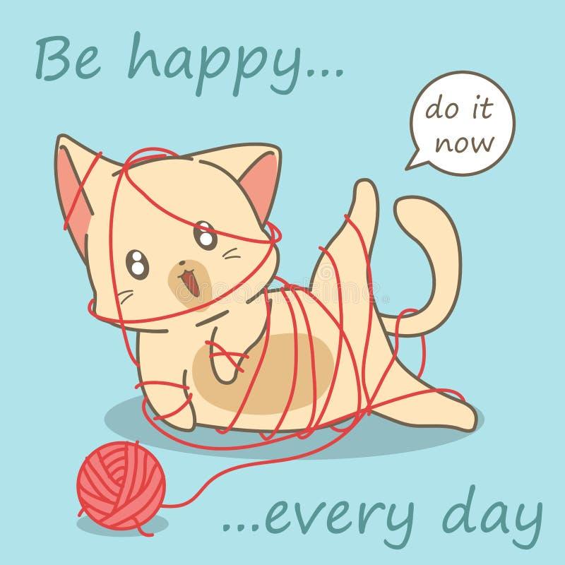Кот играет с пряжей иллюстрация штока