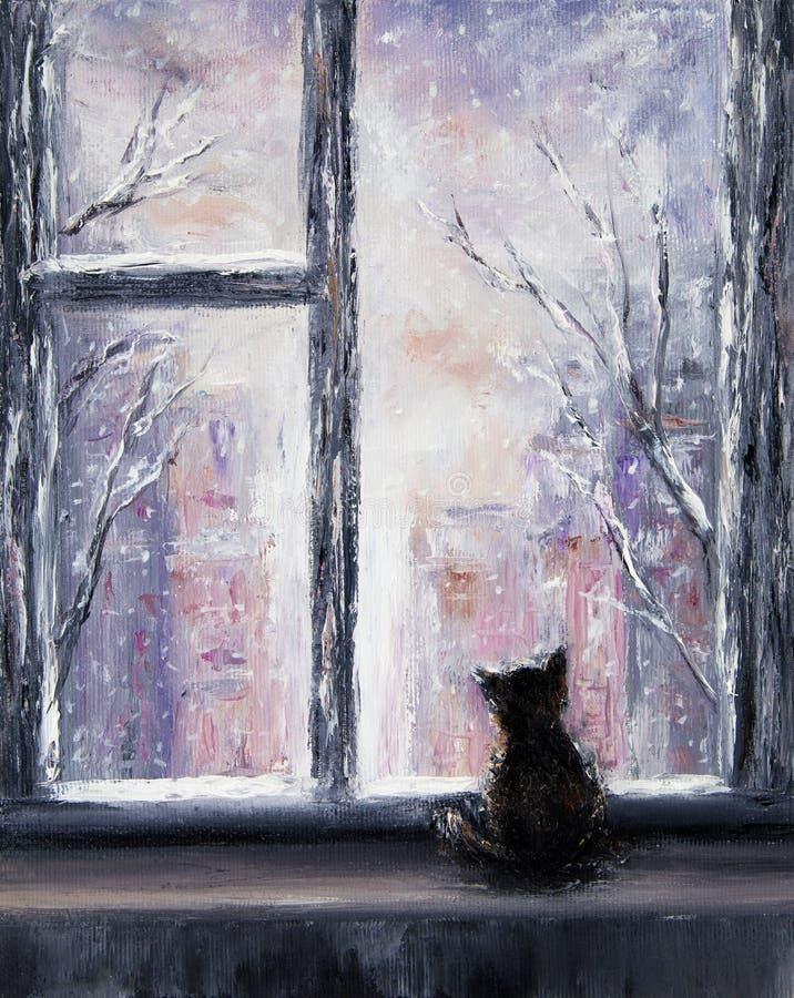 Кот и зима иллюстрация вектора