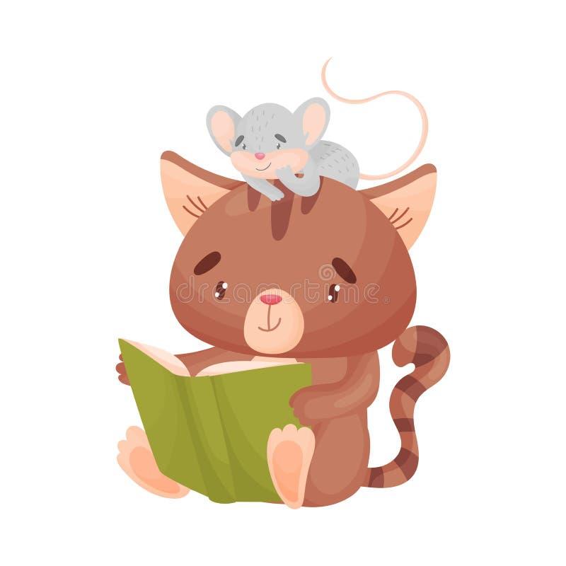 Кот и мышь читают книгу r иллюстрация вектора