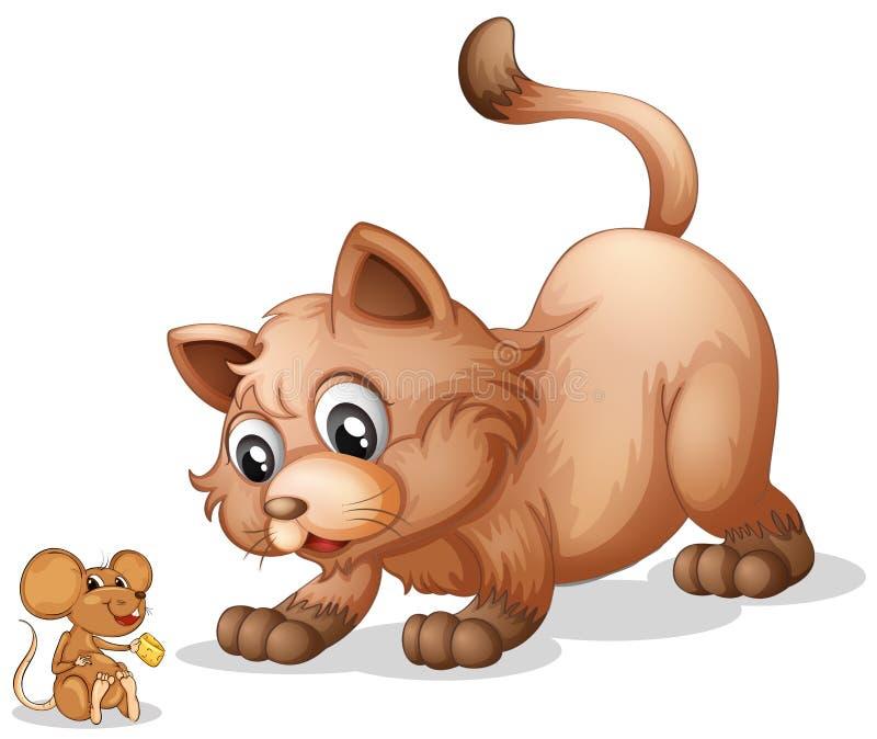 Кот и мышь иллюстрация штока