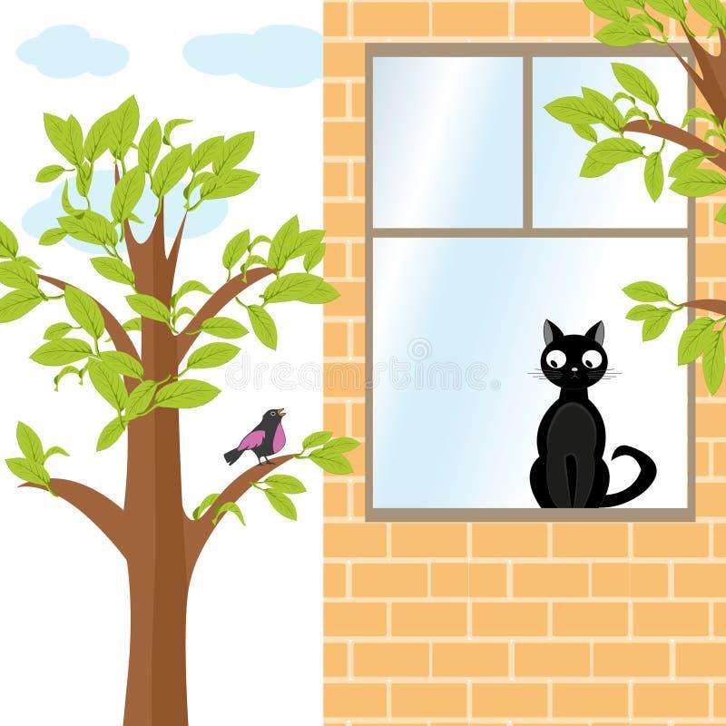 Кот и птица иллюстрация штока