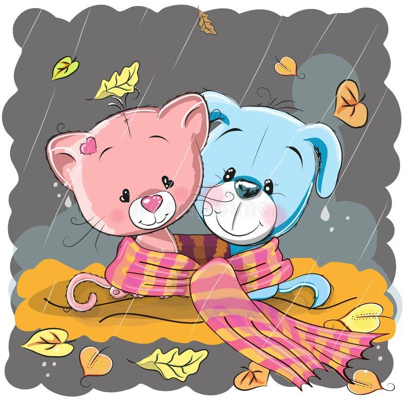 Кот и собака в шарфе бесплатная иллюстрация