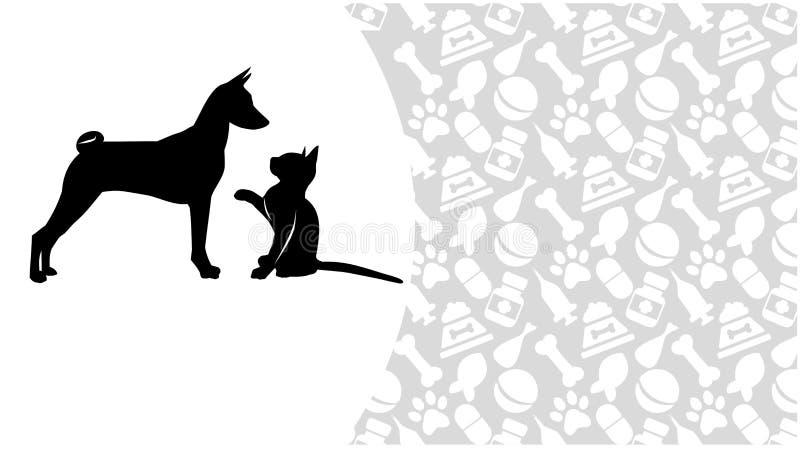 Кот и собака на предпосылке зоологических аксессуаров иллюстрация штока