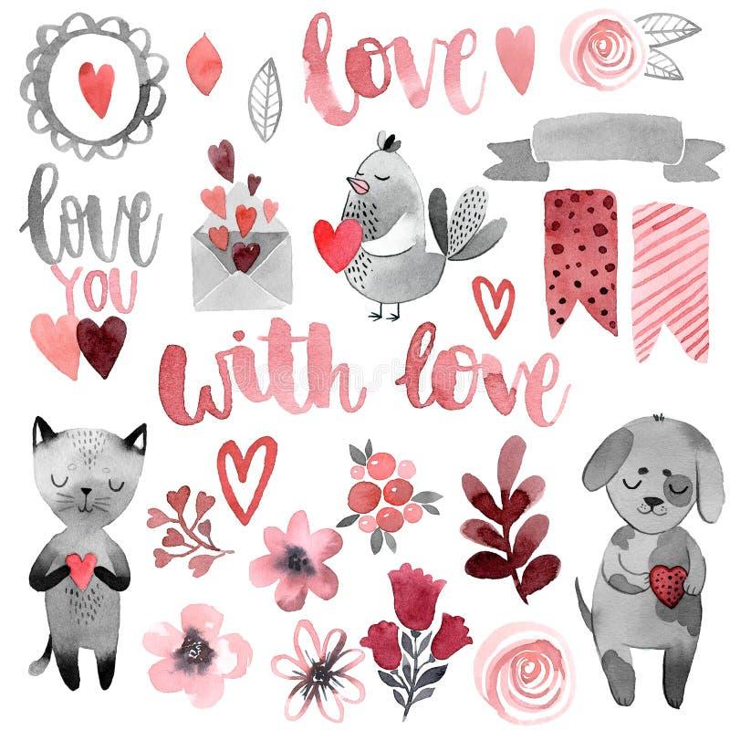 Кот и собака с сердцем и любовью иллюстрация штока